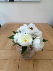 SHABBY CHIC IVORY PEONY ARRANGEMENT IN PRETTY GLASS VASE WITH WATER