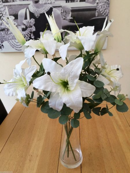 Large Artificial Flower Vase Arrangement Ivory Lily Eucalyptus In Water Sorella Bloom Everlasting Flowers
