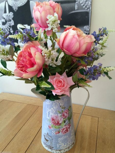 Extra Large Shabby Chic Peony Rose Physostegia Artificial Flower Arrangement In Vintage Style Metal Jug Sorella Bloom Everlasting Flowers