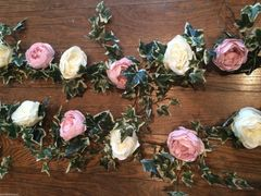 DELUXE 6FT IVORY & VINTAGE PINK LARGE PEONY ROSE VARIEGATED IVY GARLAND