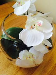 """BEAUTIFUL IVORY ORCHID & LEAVES IN 10 """" GLASS FISH BOWL WITH WATER"""