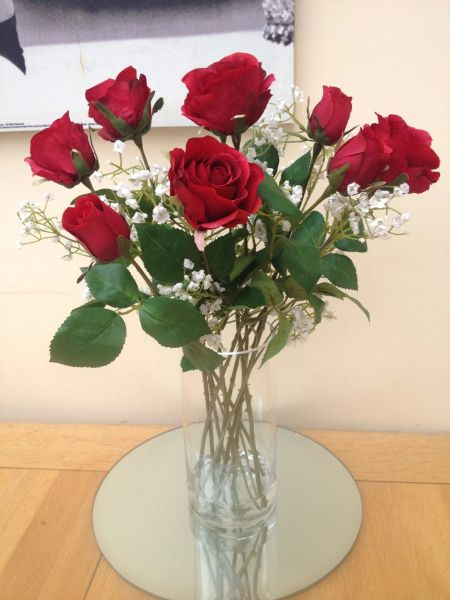 Stunning Artificial Flower Vase Arrangement Red Roses Gypsophila In Water Sorella Bloom Everlasting Flowers