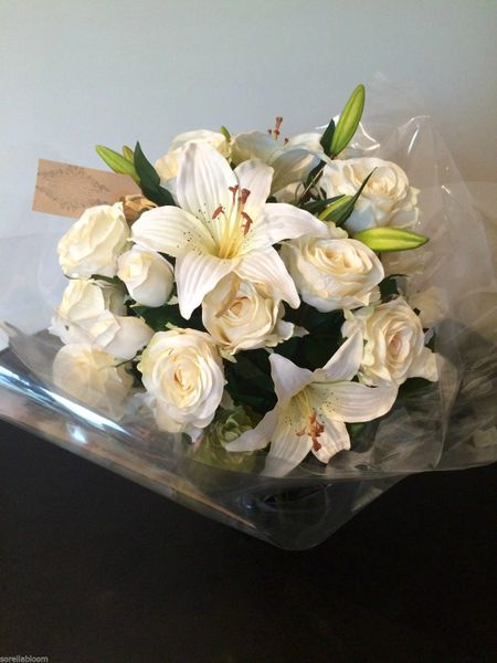 Large Ivory Rose Lily Amp Hop Spray Gift Wrapped Hand Tied