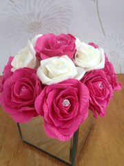 PINK & IVORY ROSE FAUX FLOWER ARRANGEMENT WITH CRYSTALS IN MIRROR CUBE