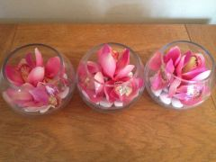 STUNNING MODERN SET OF 3 PINK ORCHID REAL TOUCH ARRANGEMENTS IN GLASS BOWLS WITH WATER