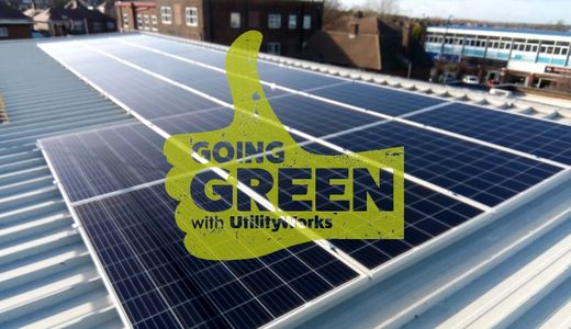 UTILITYWORKS SHOWING GREEN THUMB ON SOLAR PANELS THAT WERE INSTALLED FOR A CLIENT
