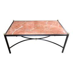 Elegant Modern Designer Wrought Iron Coffee Table W Beveled Marble Top