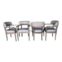 Set of 4 Steve Chase Mid Century Modern Greige Leather Barrel Chairs
