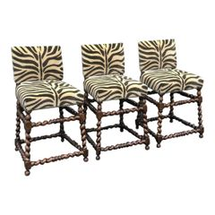Set of Three Ebanista Spanish Colonial Counter Height Bar Stools W Zebra Seats