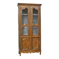 Antique French Provincial Tall & Narrow Bookcase Cabinet