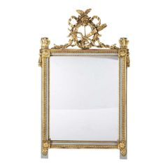 Antique Louis XVI Style Giltwood & Paint Decorated Mirror W Swedish Gray