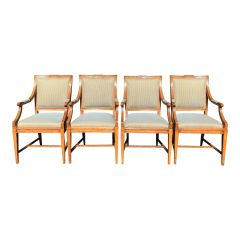 Set of 4 Charles Pollock William Switzer Gustavian Style Dining Chairs W Fortuny Backs
