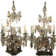 Pair of Massive Antique Baccarat Crystal Girandole Table Chandeliers