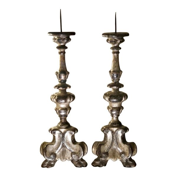 Pair of Antique 18c Italian Gilt-Wood Alter Candlesticks