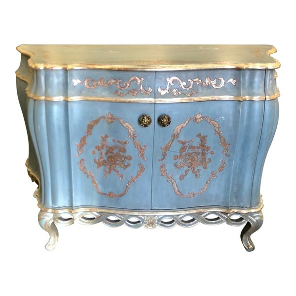Superb French Painted Deep Bombay Chest or Buffet