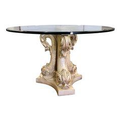 Fine Italian Designer Venetian Dolphin Base Pedestal Table