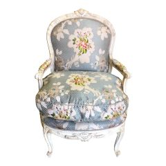 Dennis & Leen French Bergere Chair W Silk Lampas Feather Cushion