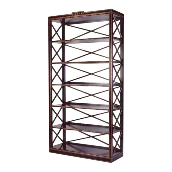 Charles Pollock Black & Gold Swedish Empire Etagere Shelving Unit