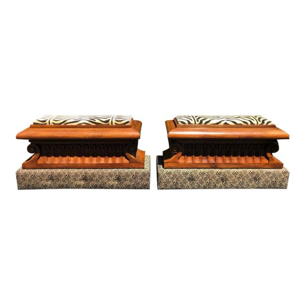 Pair of Carved Italian Neoclassical Mahogany Metamorphic Window Benches / Jardeniersrphic Window Benches / Jardeniers