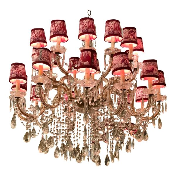 24 Light French Crystal Chandelier W Manuel Canovas Toile Shades