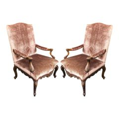 Pair of Ebanista Spanish Carved Walnut Arm Chairs W Silk Velvet Upholstery