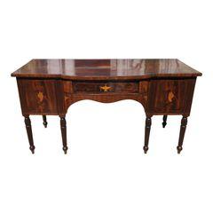 Antique Early 19c English Regency Inlaid Mahogany Sideboard Buffet