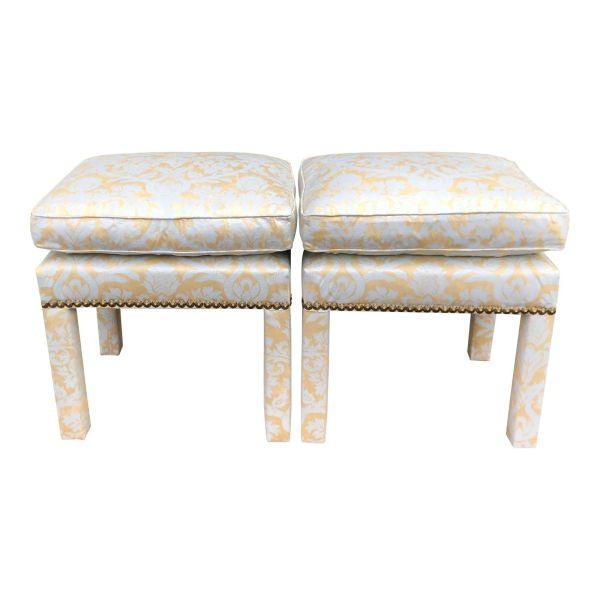 Pair of Fortuny Fully Upholstered Pillow Top Benches