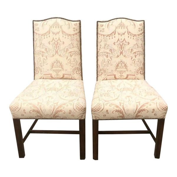 Pair of Fortuny Upholstered Antique Chinese Chippendale Designer Chairs