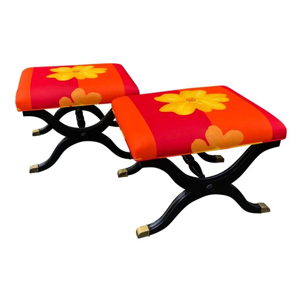 Pair of French Art Deco X Benches W Marimekko Seats