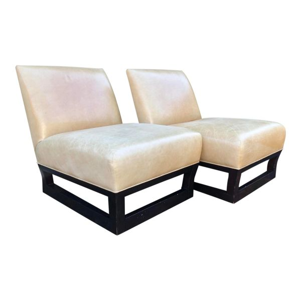 Pair of Donghia Open Villa Leather Swivel Slipper Chairs