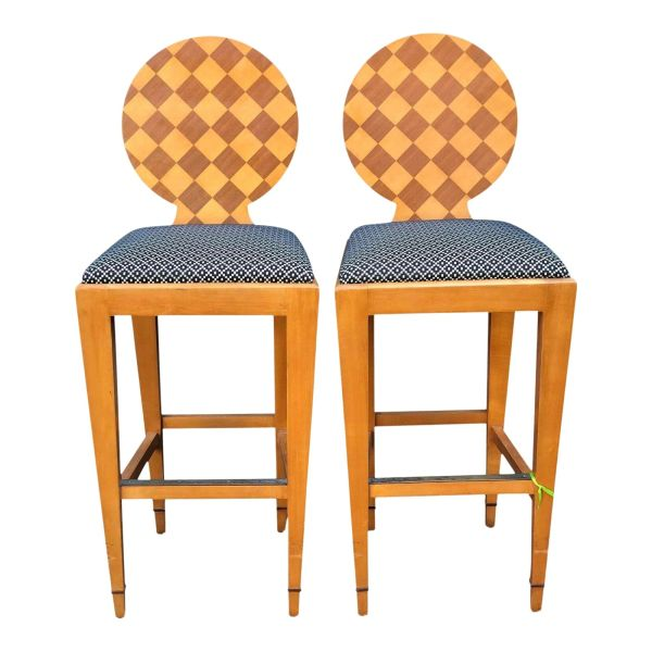 Donghia - Pair of Paris Hall Modern Designer Bar Stools by Angelo Donghia