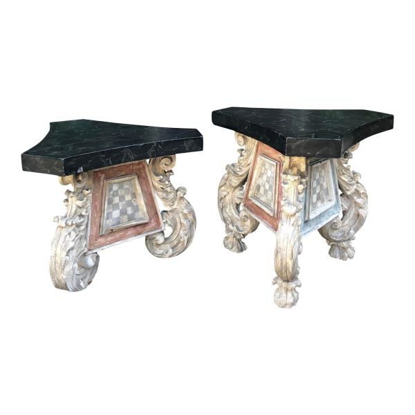 Antique 18th Century Carved Venetian Side Tables - a Pair