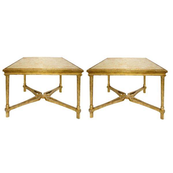 Pair of Regency Style Gilt-Wood Designer Marbella End or Side Table by Randy Esada