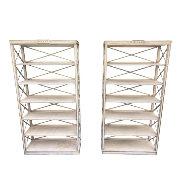 Pair of Charles Pollock Chateau White & Silver Swedish Empire Etagere Shelving Units