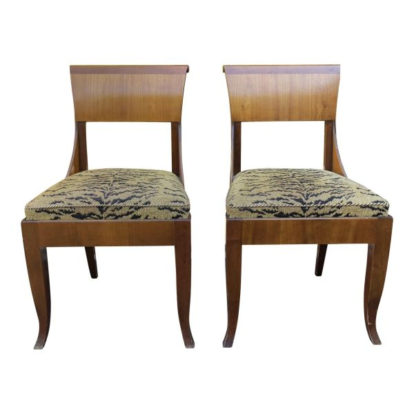 Pair of Antique Beidermeier Style Mahogany Chairs W Tiger Cushions