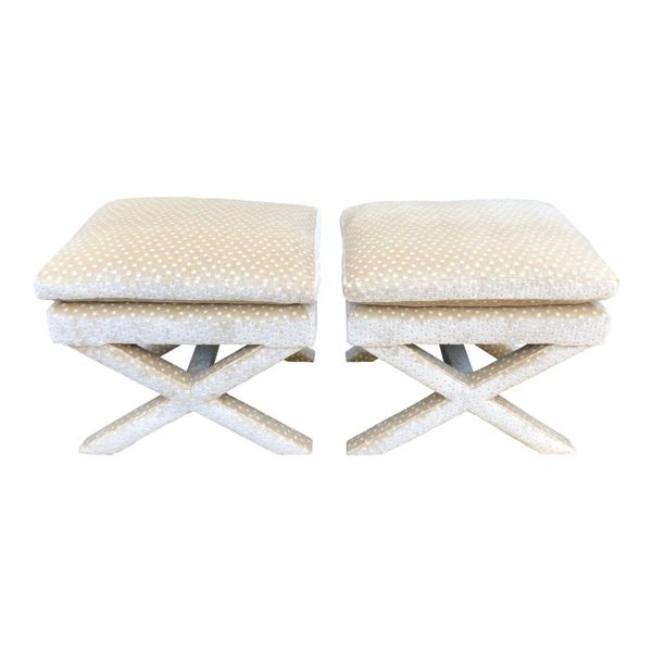 Pair of Nancy Corzine Silk Velvet Designer X Bench Ottomans