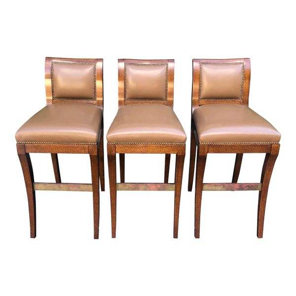 Set of 3 J. Robert Scott Leather & Lacquer Bar Stools