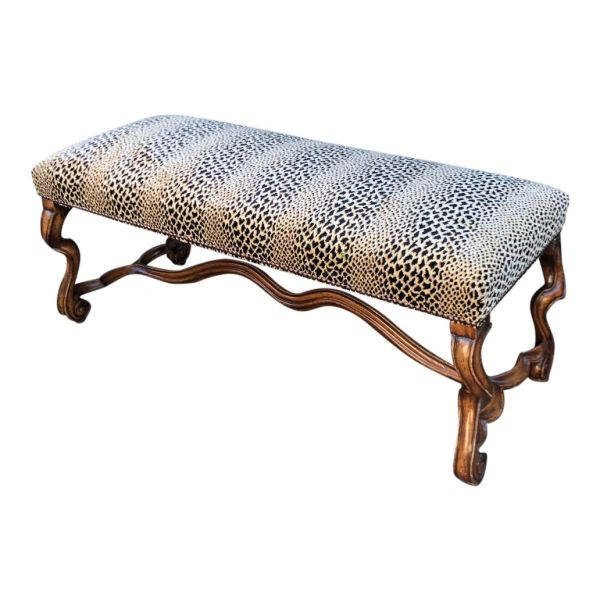 Clarence House Cheetah - 18C Style Carved Italian Walnut Bench by Randy Esada Designs for PROSPR