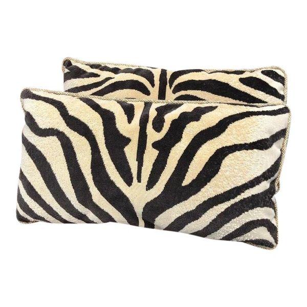 Pair of Clarence House Zebra & Rose Tarlow Silk Velvet Pillows