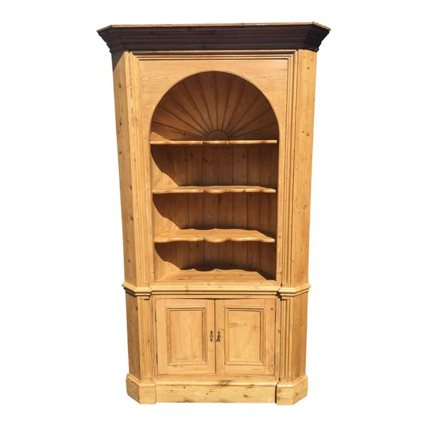 Huge Charles & Charles Antique English Country Rustic Pine Corner Cabinet
