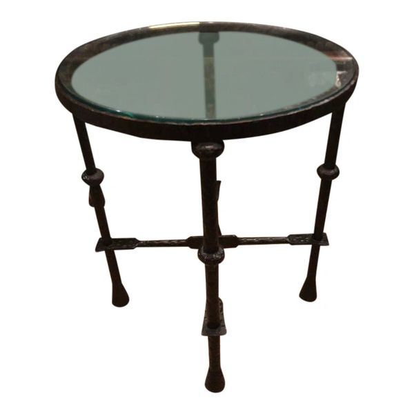 Art Deco Style Wrought Iron Side Table by Murray's Iron Works