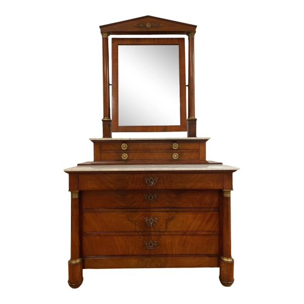 Antique 19th C Empire Mirror Top Dresser Commode W Marble Top