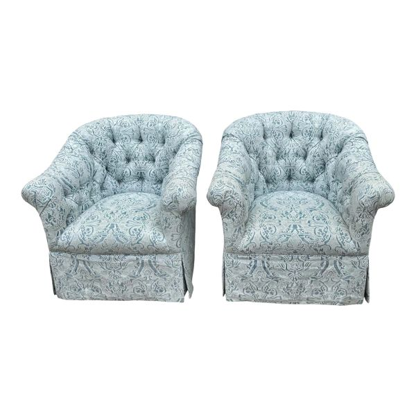 Vintage Blue Fortuny Tufted Swivel Club Chairs - a Pair