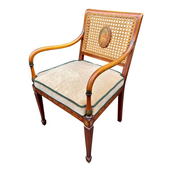 Antique Angelica Kauffman Regency Style Hand Painted Cane Back Arm Chair