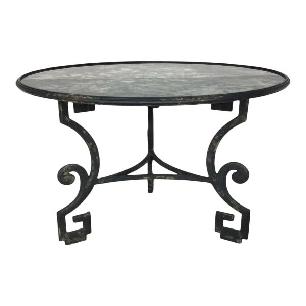 Dennis and Leen Formations Greek Key Antiqued Mirror Top Wrought Iron Dining Table