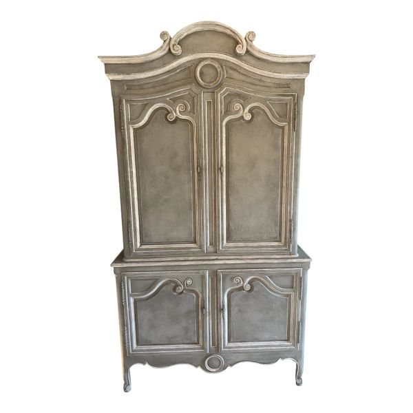 Vintage Baker Furniture Company Paint Decorated Armoire Linen Press