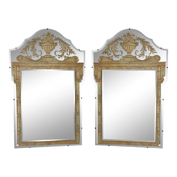 Vintage French Art Deco Eglomise Regency Mirrors - a Pair