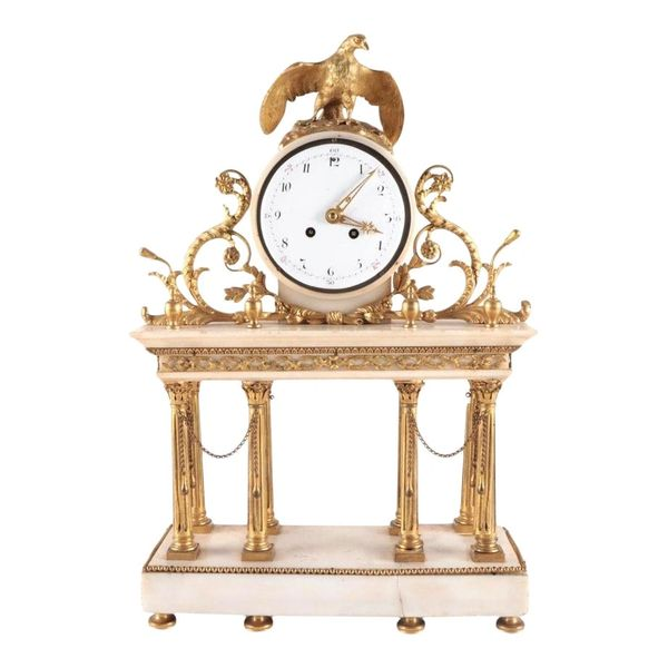 Antique French Empire White Marble and Brass Mantel Clock