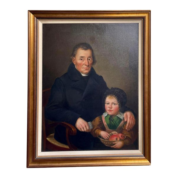 Antique 19th C Library Portrait Oil Painting - Father Daughter