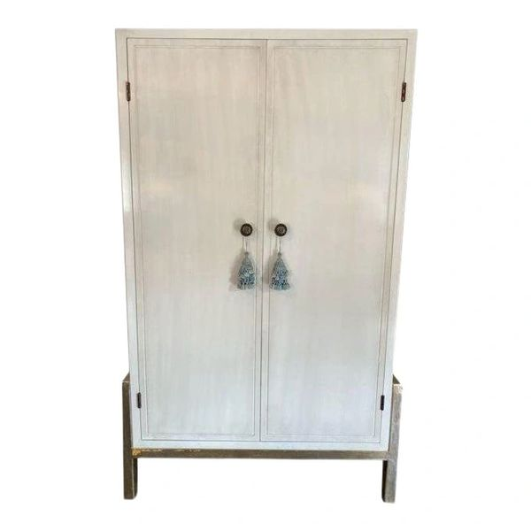 Modern Laura Kirar for Baker Furniture Co Modern Teabox Ivory Lacquer Cabinet W Custom Dry Bar Interior